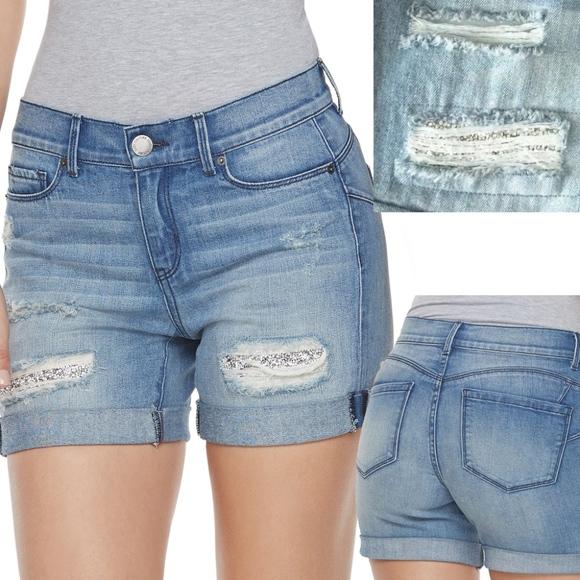 9d92743f4e Juicy Couture Ripped Glitter Jean Denim Shorts NWT